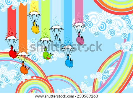Rainbow monsters with parachutes (raster version) - stock photo