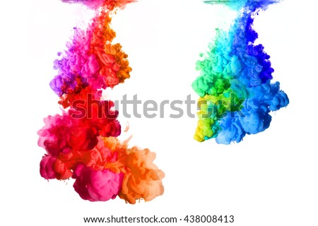 Rainbow of colors. Acrylic Ink in water isolated on white background. Paint texture. - stock photo
