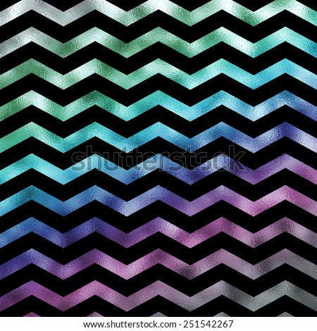 Rainbow on Black Holographic Faux Foil Metallic Chevron Pattern Chevrons Texture Zig Zag Background - stock photo