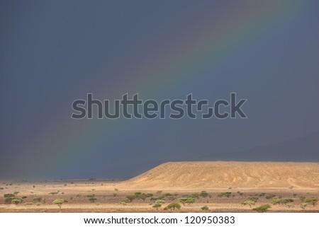 Rainbow on dark rainy sky in the Sahara desert of Morocco. - stock photo