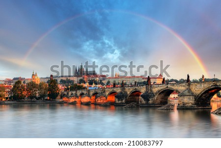 Rainbow over Prague castle, Czech republic - stock photo