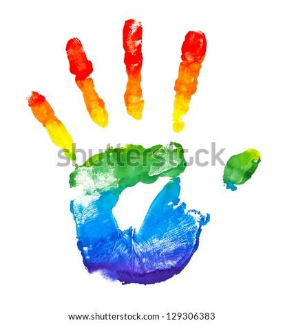 Rainbow painted hand shape isolated on white - stock photo