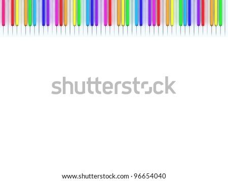 Rainbow piano keys. - stock photo