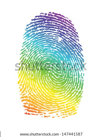 rainbow pride thumbprint. fingerprint illustration design over white - stock photo