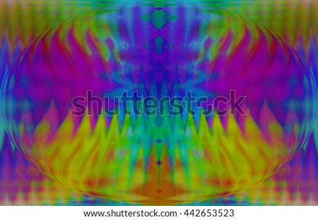 Rainbow psychedelic wave length design patterns oval extrusion yellow red orange green blue purple violet bright vivid background backdrop pattern unique - stock photo
