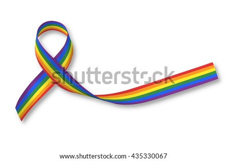 Rainbow ribbon awareness isolated on white background+ clipping path:  Symbolic color logo icon for equal rights in human people love and marriage social equality of LGBT community/ people concept     - stock photo