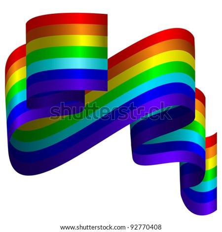 Rainbow ribbon on white background - stock photo