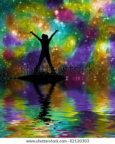 Rainbow space - stock photo