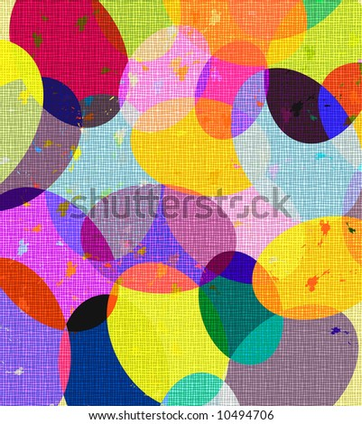 rainbow speckled colored easter eggs with linen texture - stock photo