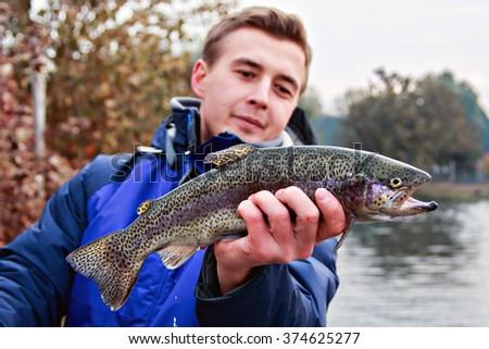 Rainbow Trout Fishing. Blur, background. - stock photo