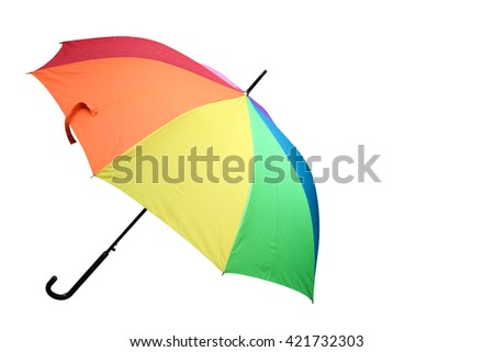 Rainbow umbrella on white background - stock photo