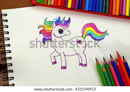 Rainbow Unicorn,Pencil Color Drawing,For Children,Cartoon - stock photo