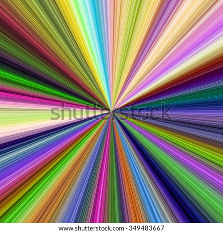 Rainbow vivid curved rays in spectrum, background template - stock photo