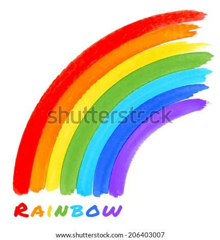 Rainbow Watercolor Brush Smears, raster illustration, logo - stock photo