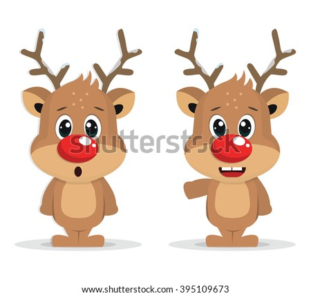 Raindeer With Red Nose - stock photo