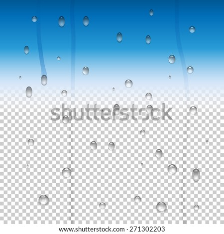 Raindrops and a water vapor effect on a glass window. Set of pure clear water drops. Rasterized version. - stock photo