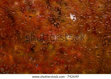 Raindrops on window with fall colors - stock photo