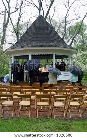 Rained out wedding - stock photo