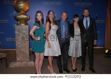 Rainey Qualley, Sofia Vergara, Woody Harrelson, Rashida Jones, Gerard Butler at the 69th Annual Golden Globe Awards Nominations, Beverly Hilton Hotel, Beverly Hills, CA 12-15-11 - stock photo