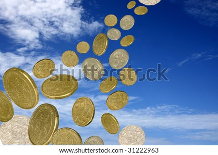 raining coins - stock photo