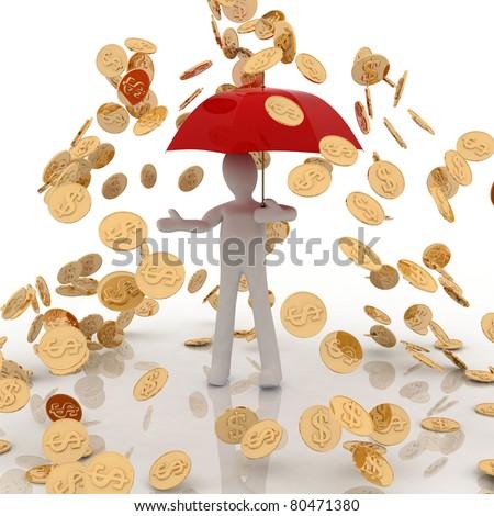 raining gold coins - stock photo