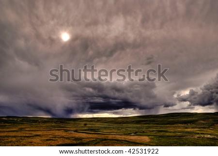 Rainstorm in Yellowstone National Park - stock photo