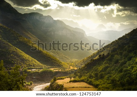 rainy and dramatic clouds in the Canyon - stock photo