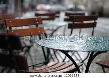 rainy cafe - stock photo