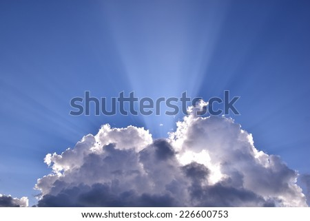 Rainy cloudy sky blue sky background - stock photo