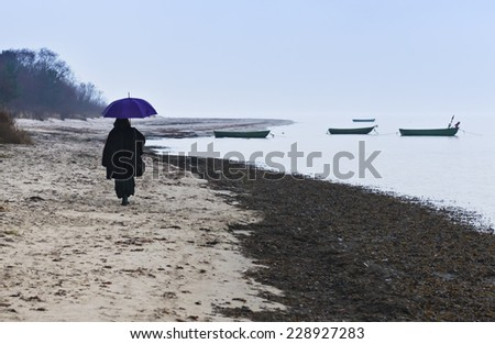 Rainy day at a beach of the Baltic Sea, Latvia - stock photo