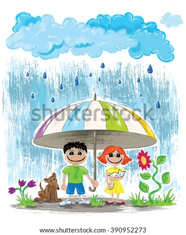 rainy day children with dog and cat hiding under umbrella wallpaper - stock photo