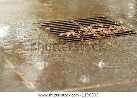 rainy drain - stock photo