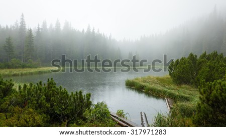 Rainy foggy morning on the lake, panorama - stock photo