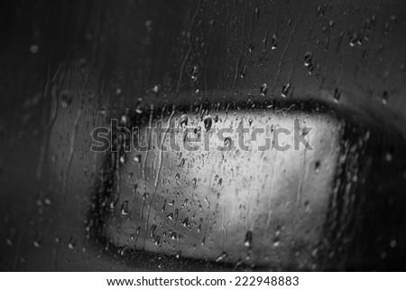rainy traffic background in black and white - stock photo