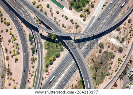 Raised interchange of the U.S. 60 and I-10  - stock photo