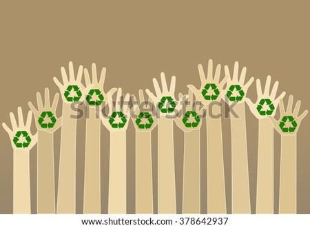raising carton hands with a recycle symbol on brown background. eco friendly design template. raster - stock photo
