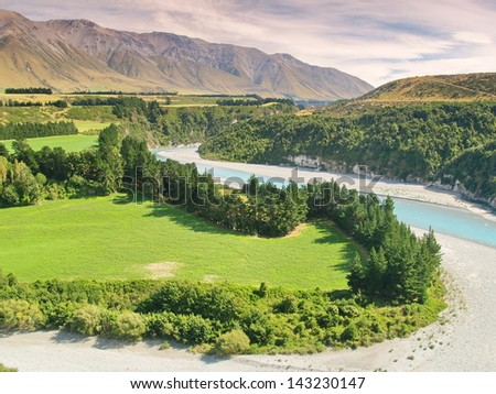 Rakaia Gorge in New Zealand - stock photo