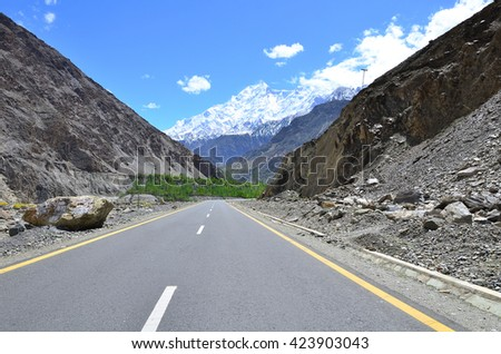 Rakaposhi peak is a mountain in the Karakoram highway in North of Pakistan along the way to Hunza valley - stock photo