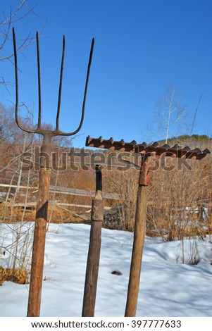 rakes, hoes, forks against the sky - stock photo