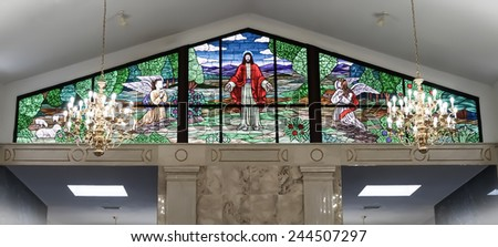 RALEIGH, NC - January 4, 2015: Stained glass window in the Raleigh Memorial Park Mausoleum of Raleigh, North Carolina, United States, on January 4, 2015 - stock photo