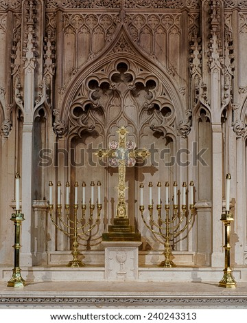 RALEIGH, NORTH CAROLINA - DECEMBER 11: Altar of the Christ Episcopal Church (1848) on December 11, 2014 in Raleigh, North Carolina - stock photo