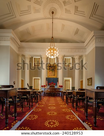 RALEIGH, NORTH CAROLINA - DECEMBER 13: Historic House of Representatives  chamber of the North Carolina State Capitol building on December 13, 2014 in Raleigh, North Carolina - stock photo