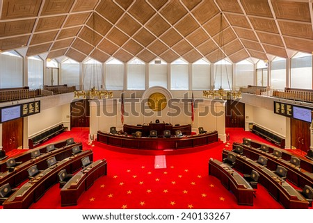 RALEIGH, NORTH CAROLINA - DECEMBER 11: Senate chamber in the State Legislative building on December 11, 2014 in Raleigh, North Carolina  - stock photo