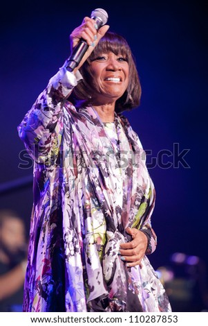 RALEIGH, NORTH CAROLINA - JULY 20: singer Patti LaBelle performs on stage at Time Warner Cable Music Pavilion at Walnut Creek on July 20, 2012 in Raleigh, North Carolina. - stock photo