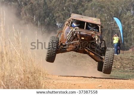 Rally car ramping - stock photo