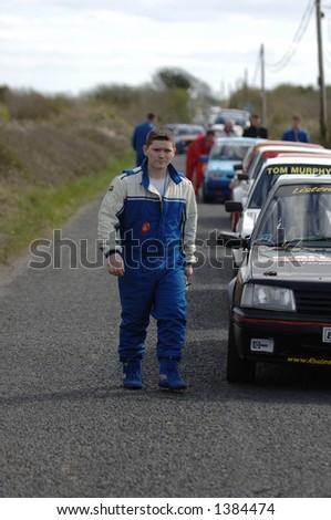 Rally Time Check Queue - stock photo