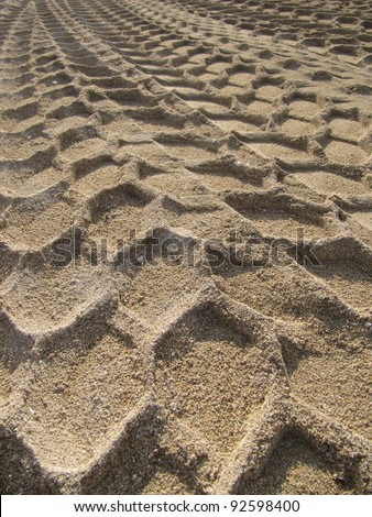 Rally tracks in the sand - stock photo