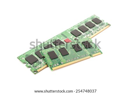 RAM Computer Memory Chip Modules Isolated On White - stock photo