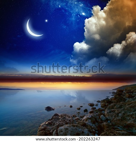 Ramadan background with moon and stars, holy month. Elements of this image furnished by NASA - stock photo