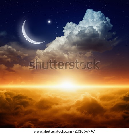 Ramadan background with moon and stars, holy month, Ramadan Kareem, glowing red sunset - stock photo
